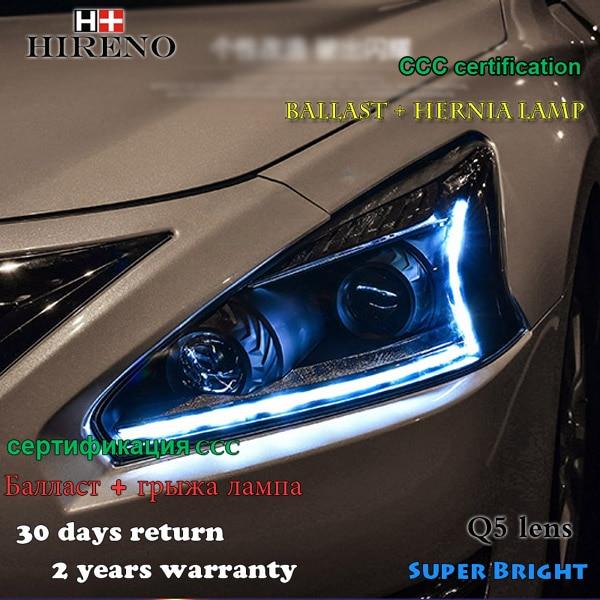 Hireno Headlamp for 2013-2015 Nissan Altima teana Headlight Assembly LED DRL Angel Lens Double Beam HID Xenon 2pcs