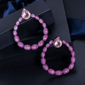 Image 3 - CWWZircons Micro Pave Hot Pink Cubic Zirconia Stone Black Gold Large Round Dangle Drop Earrings for Women Brand Jewelry CZ563