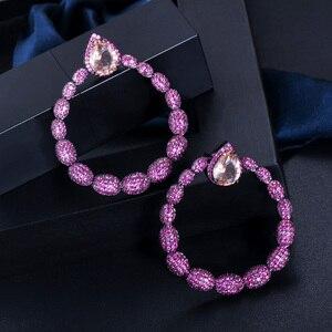 Image 3 - Cwwzircon микро паве горячий розовый фианит камень черный золотой большой круглый Висячие серьги для женщин брендовые ювелирные изделия CZ563