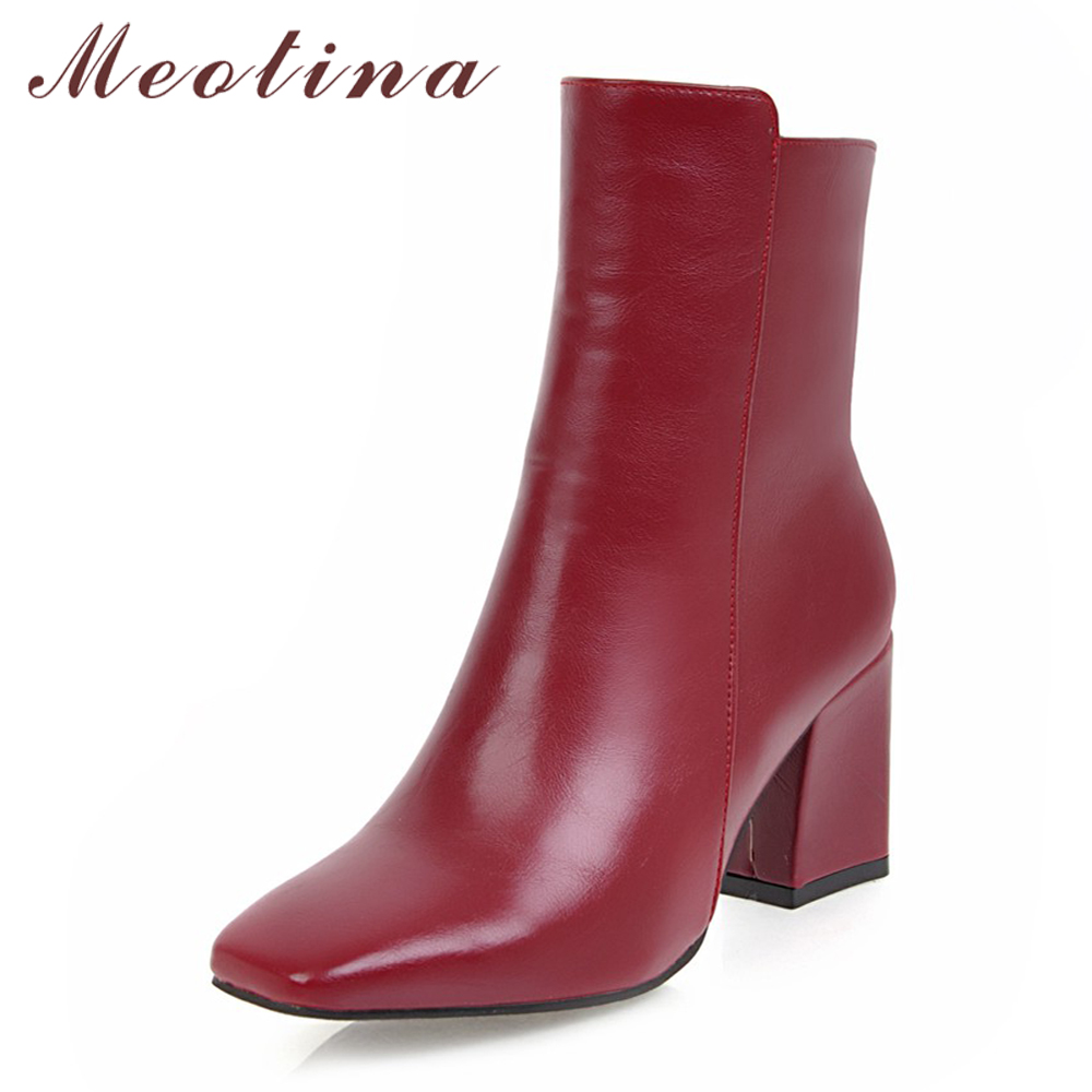 e3c03016b42 US $25.41 50% OFF|Meotina Square Toe Winter Boots Women Ankle Boots Thick  High Heel Boots Zipper Ladies Autumn Shoes White Black Red Size 42 43-in ...