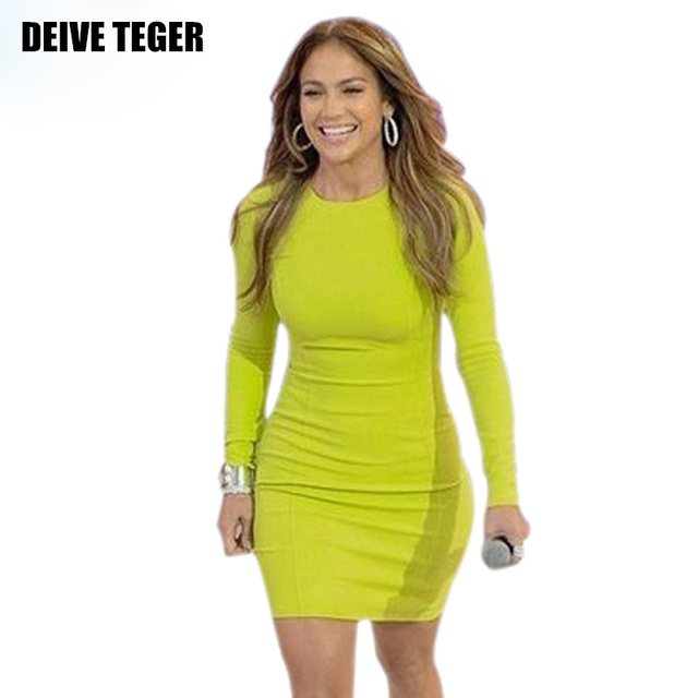 DEIVE TEGER Free shipping 2016  lemon yellow full bandage dress fashion dress Club dress HL496