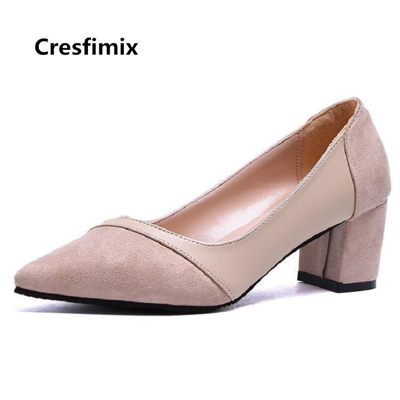 Street Cool Cresfimix Señora Mujer d Zapatos On c Alto Tacos Beige C3233 Tacón Slip Moda Cómodos Altos Cómodo De A CAqwCO7