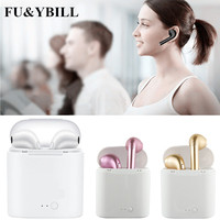 Fu Y Bill New I7 Bluetooth Earphone Twins Bluetooth V4 2 Stereo Headset Earphone For Iphone