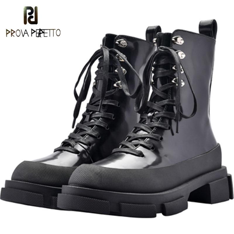 Prova perfetto preto mulher botas de tornozelo salto grosso botas de equitação rendas até outono botas mujer plataforma sapatos de borracha