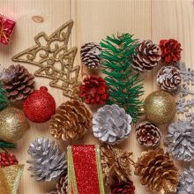 9Pcs/set New Lovely Christmas Tree Ornament Hanging Balls Pine Nuts Pinecone Christmas Decoration For Home Party Supplies