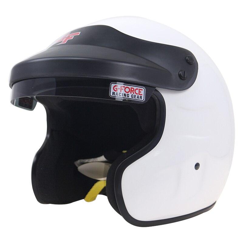 Engrenages de course de voiture casque ouvert visage blanc Snell SA-2015 casque de moto DD anneau boucle