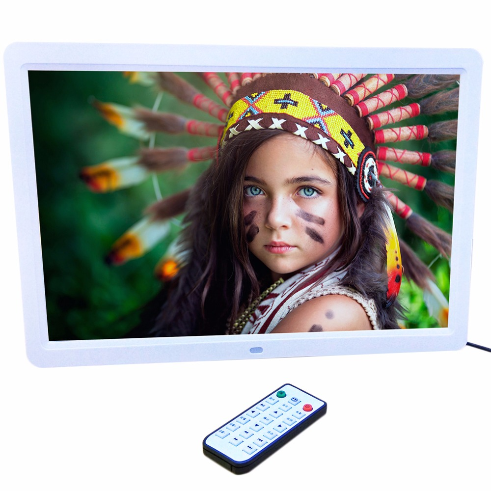 15 LED Digital Photo Frame Pictures 1280*800 HD with Remote Control Alarm Clock MP3 MP4 Movie Player Rotate 360 degrees