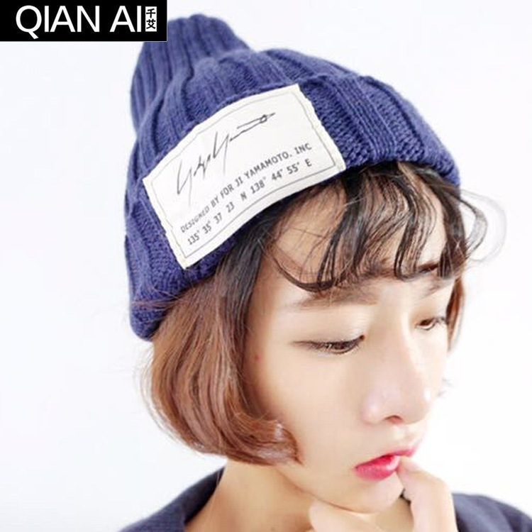 New post woven lable of men and women cold hat money lady knitting hat qiu dong the day han2 ban3 warm pointed
