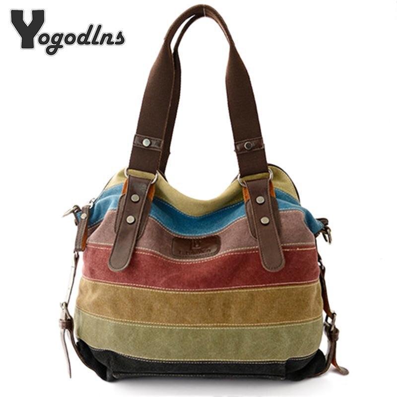 все цены на New Hot women bags Panelled Canvas Bags Casual Patchwork Handbag Shoulder Bags Big Shopping Stripe rainbow bag