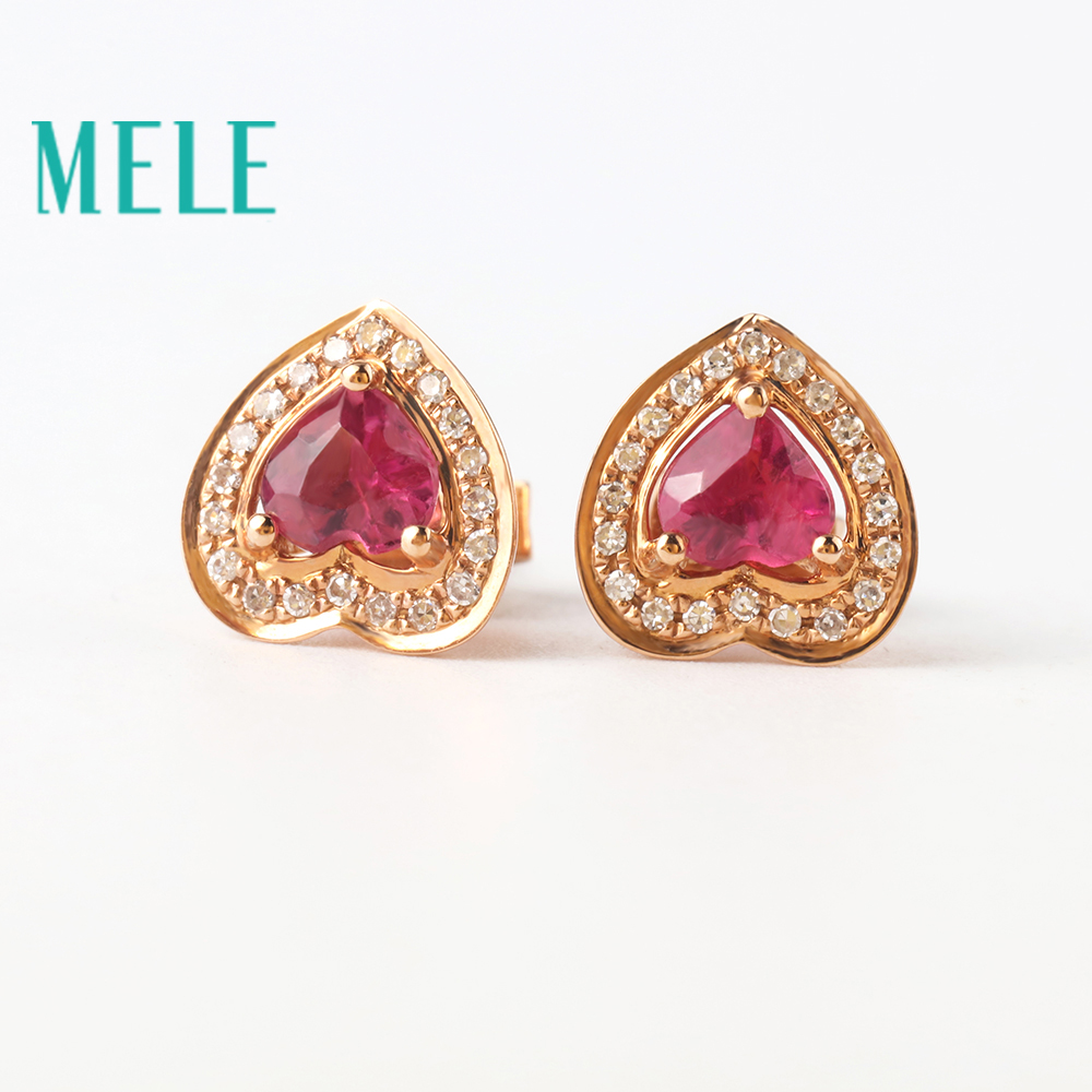 Natural red tourmaline 18K gold diamonds earring for women and girl,heart cut fashion and beaut wiht high quality недорго, оригинальная цена