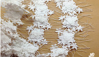 off white lace fabric with 3D flowers, crochet lace fabric for bridal dress, african lace fabric