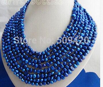 ~ ~ Livraison Gratuite> 8 brins 6mm Bleu Baroque D'eau Douce Collier de Perles