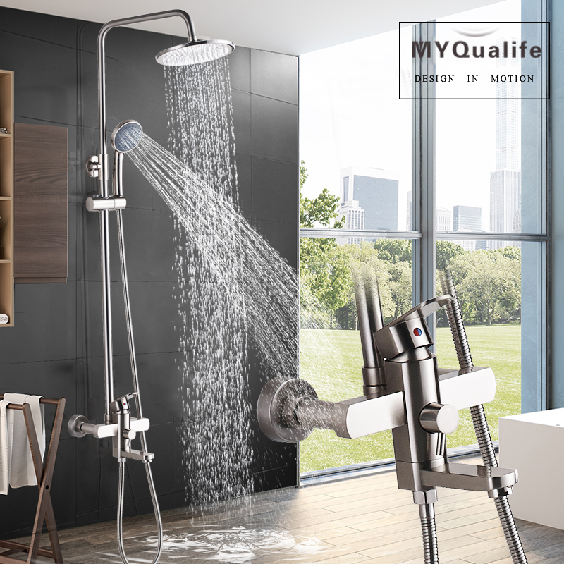 Brushed Nickel Shower Faucet Set Single Handle Rainfall 8 Brass Shower Head Bath Shower Mixer Tap Swive Spout Shower System