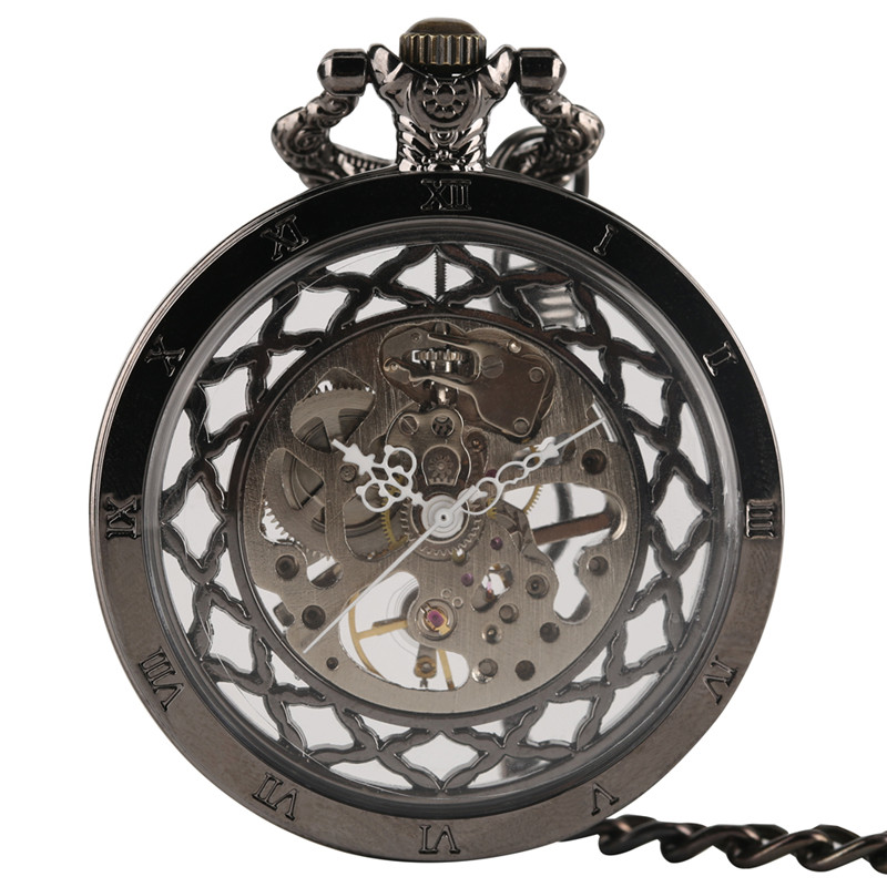 Retro Black Hollow Transparent Design Mechanical Pocket Watch Punk Fashion Men Women Vintage Clock Gifts все цены
