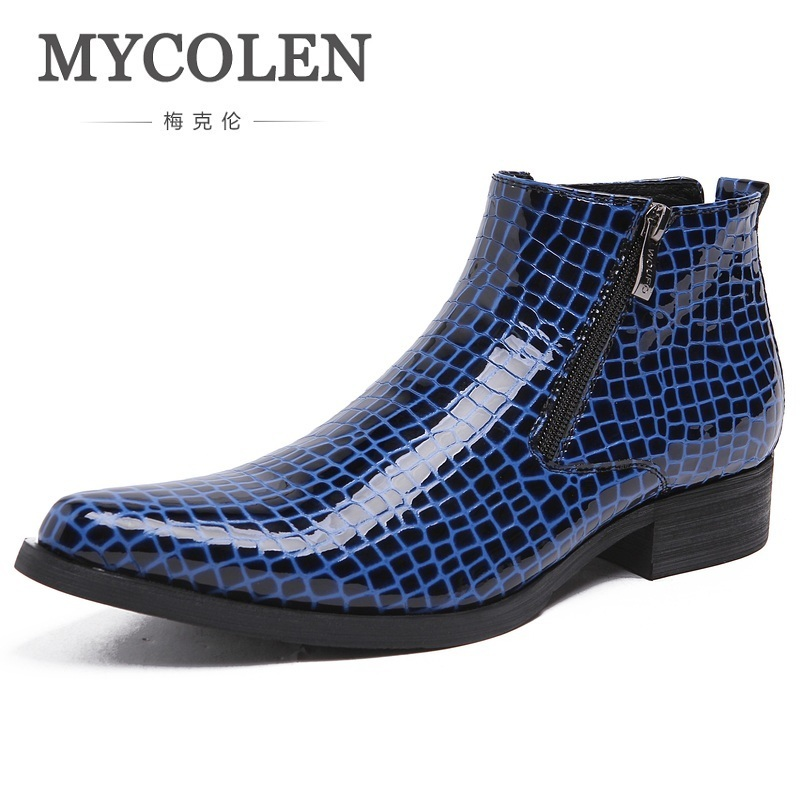 MYCOLEN Spring And Autumn Men Shoes Black Pointed Toe Luxury Genuine Leather Formal Male Ankle Boots Blue Bota Masculina mycolen spring autumn men genuine leather chelsea boots vintage pointed toe ankle outdoor boots wear resistant male shoes