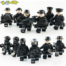 12Pcs/set Military Special Forces Soldiers Bricks Figures Guns Weapons Compatible Armed SWAT Building Blocks Ww2 Toys