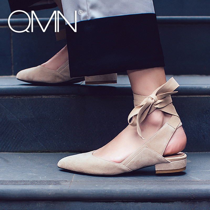 QMN women genuine leather mules Women Natural Suede Block Heels Slippers Ankle Strap Summer Leisure Shoes Woman Leather Slides qmn women crystal embellished natural suede brogue shoes women square toe platform oxfords shoes woman genuine leather flats