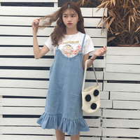 2017 New Korean Version Of Loose Cowboy Straps Students Small Fresh Dress In The Long Section