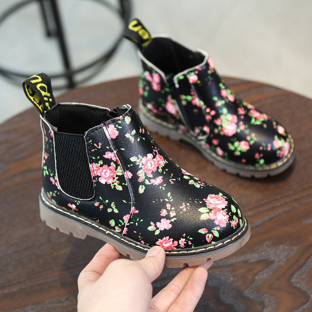 New Fashion Print Children Boots Anti-slip Winter Snow Boots Girls Autumn Martin Boots Flowers Kids Shoes Girls Shoes CSH547