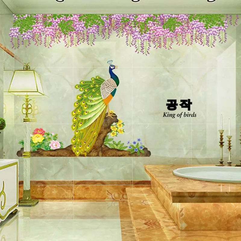 Buy noble beautiful peacock peony flowers - Beautiful wall stickers for living room ...
