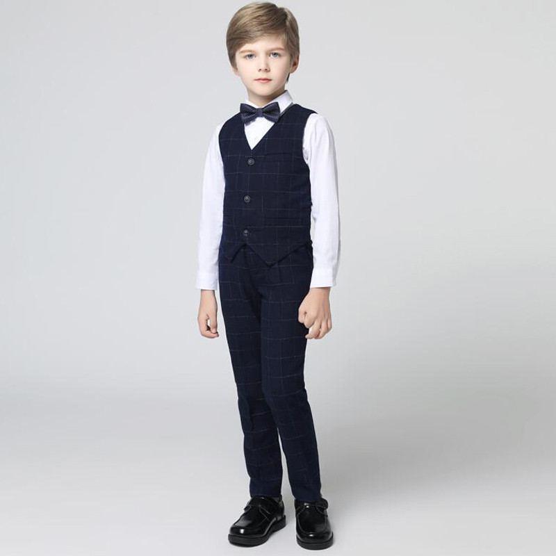 2019 nouveau bébé garçon costume pour mariage Piano fête adolescents garçons gilet + pantalon + chemise + nœud ensembles enfants garçons costumes vêtements formels 4 pièces Y93
