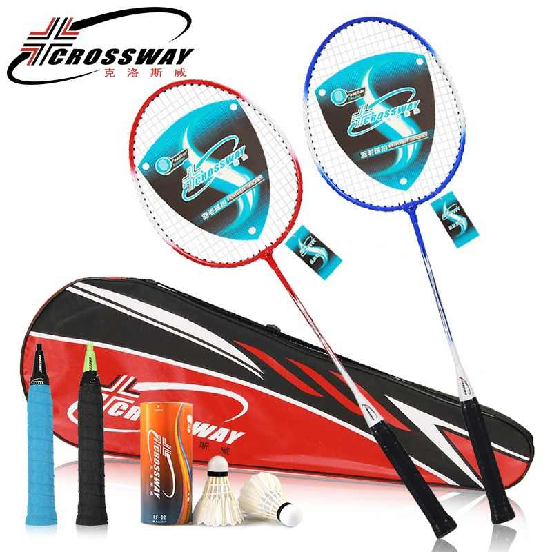 CROSSWAY Two Professional Badminton Rackets Family Double Badminton Racquet Set Titanium Alloy Lightest Venues Playing Badminton
