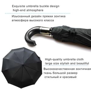 Image 3 - EasyZreal paraguas automático de cuero con mango curvo para hombre, sombrilla de negocios, resistente al viento, color negro