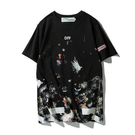 New 19SS Off-White OW Fireworks Splashing ink Men/Women Couple Lovers models Fashion Cotton Short sleeve Round neck T-shirt