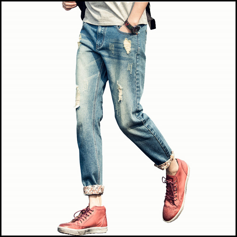 2016 Hot Spring Autumn Hole Designer Jeans Men Casual Slim Distressed Ankle-Length Youths Mens Pants
