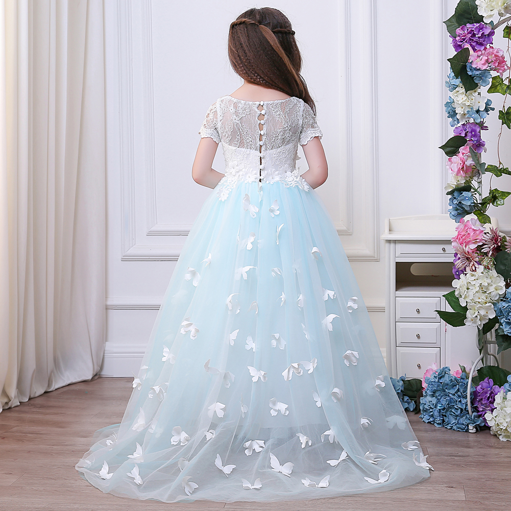White and Blue Lace Flower Girl Dresses Birthday Party Pageant Prom Frocks First Communion Ball Gowns new white ivory lace flower girl dresses birthday party pageant prom glitz frocks first communion ball gowns for juniors
