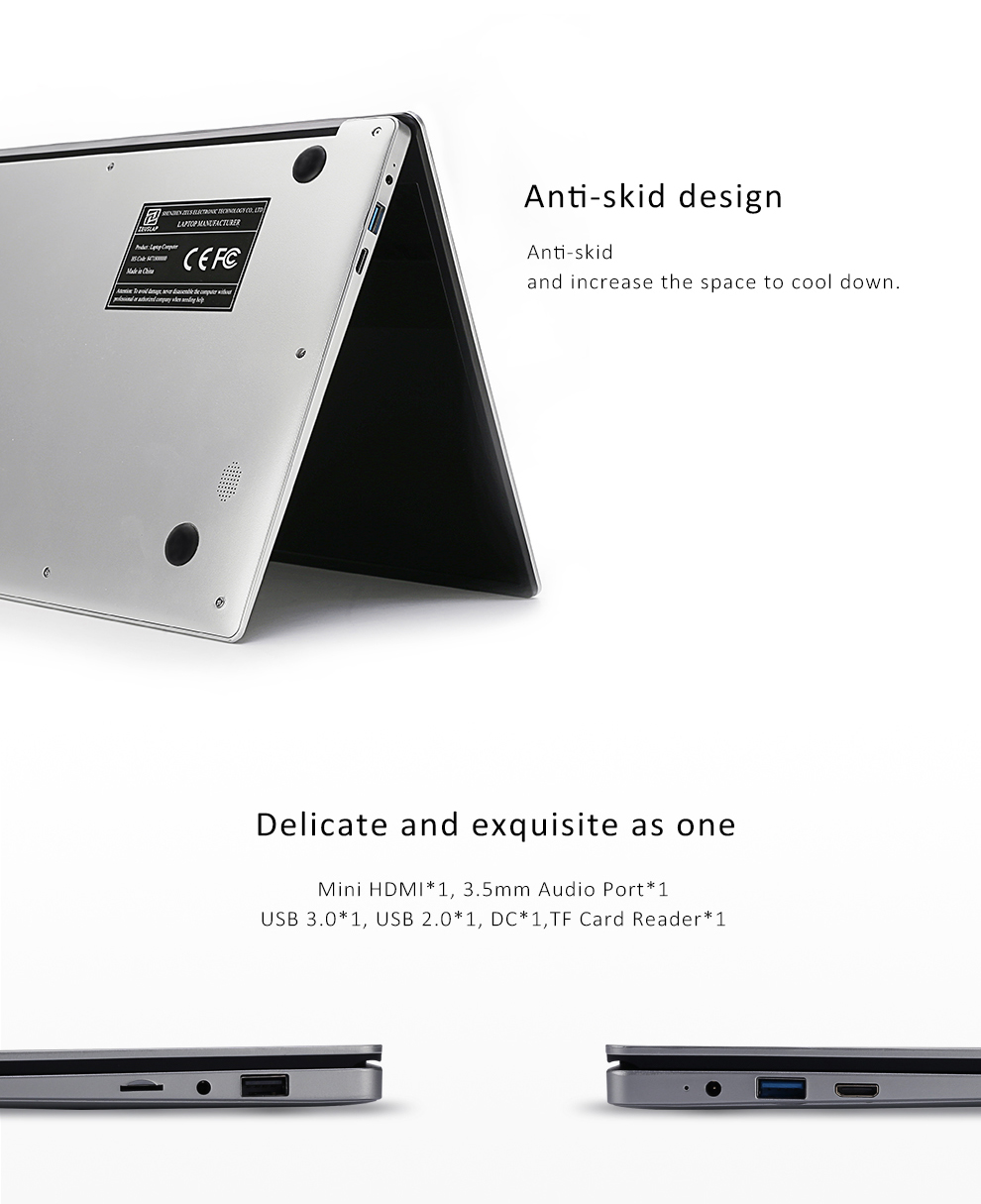 ZEUSLAP 15.6inch Intel Quad Core CPU 4GB Ram 64GB EMMC Windows 10 System 19*1080P IPS Screen Netbook Laptop Notebook Computer 12