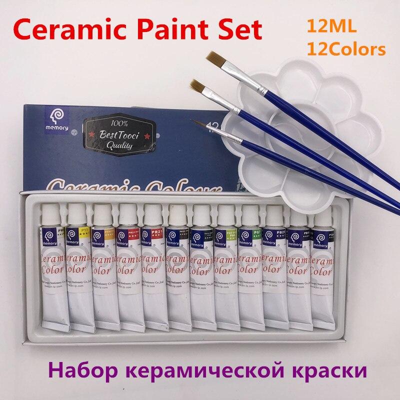 Professional 12 Colors 12ML Color Set Acrylic Paint Ceramics Paint Glass Paint Color Glass Drawing Hand Painted Pigments Set свитшот print bar paint color