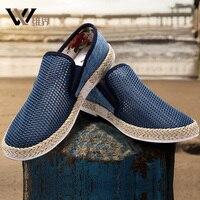 W J Spring Summer Autumn Mesh Denim Casual Shoes Men Breathable Loafer Sneaker Light Men Shoes