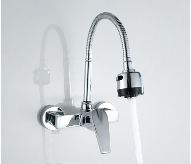 Solid Br Kitchen Mixer Cold Hot Tap Single Hole Water Flexible Faucet Deck