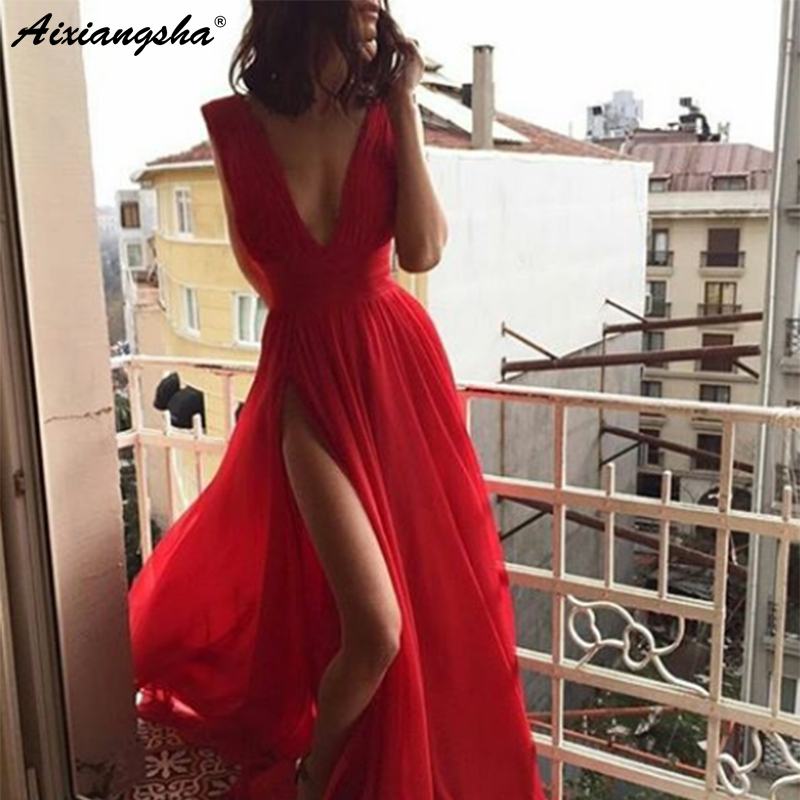 Deep V-Neck Sexy Red   Prom     Dress   2019 High Side Slit A-Line vestido de fiesta Tulle   Prom   Long Elegant   Dresses