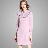 Light Pink Long Sleeve Short Dress Women Autumn Spring Slim Mini Dress 2017