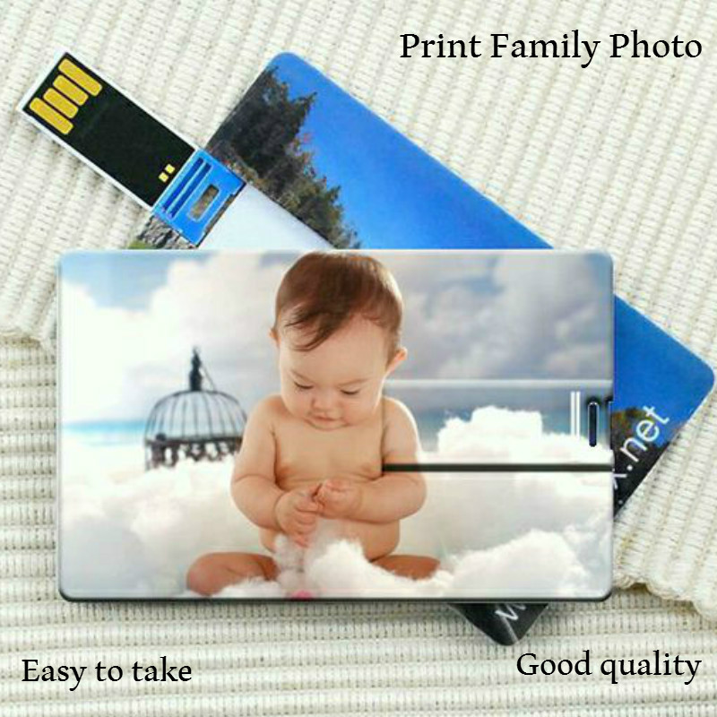DIY Creative Bank Card Formad Flash Drive PC Car 16GB 8GB USB2.0 Flash Pen Print Färgrikt Digital Photo Custom Company Logo Gift