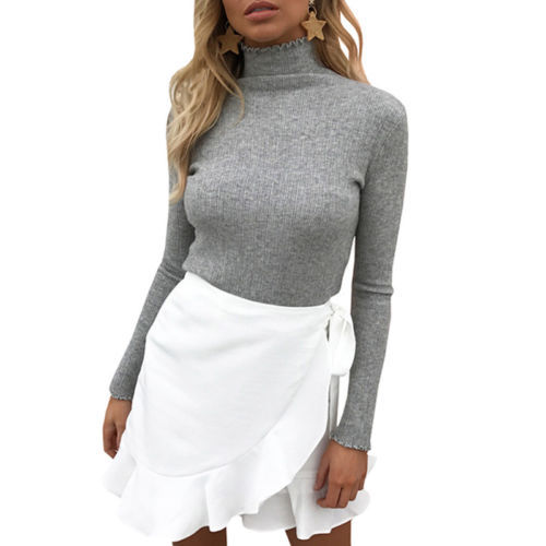 Hirigin Women Ladies Turtleneck Sweater Long Sleeve Warm Cotton Knitwear Pullover Jumper Pullovers Clothes