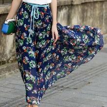 купить 2019 Women's Large Size Bohemian Floral Beach Skirt Chiffon Skirt  A-Line  Casual  Mid-Calf  Natural дешево