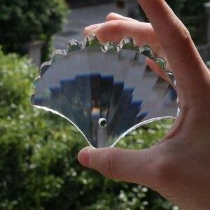 100mm ginkgo em forma de peixe sereia cauda corte de vidro cristal ginkgo folha suncatcher pendurado gota claro ornamento lustre pingente