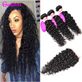 Brazilian Curly Virgin Hair With Closure Brazilian Water Wave 3 Bundles With Closure Curly Weave Human Hair Weave With Closure