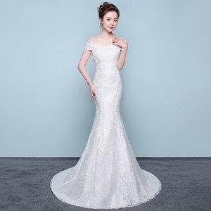 Image 2 - משלוח חינם חדש מכירה לוהטת אלגנטית יפה תחרה פרחי בת ים שמלות כלה Vestidos דה noiva robe de mariage כלה שמלה