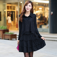 2013 Long Sleeve Big Size Autumn Clothing Faux Two Piece Big Size Loose Autumn And Winter