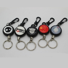 Fly Fishing Tackle Boxes Retractor Tools Badge Holder Retractable Key Chain Ring Reel Carabiners Clip Steel Wire Cord Pesca