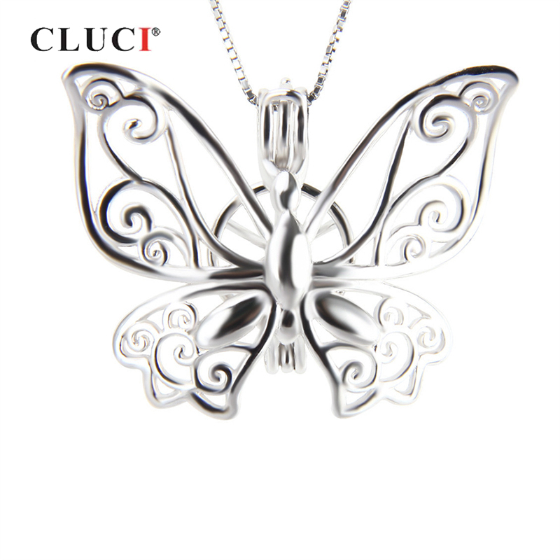 CLUCI Real Silver 925 Wedding Necklace Pendant Jewelry Elegant Butterfly Shaped Charms Pendant Silver 925 Pearl LocketCLUCI Real Silver 925 Wedding Necklace Pendant Jewelry Elegant Butterfly Shaped Charms Pendant Silver 925 Pearl Locket
