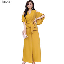 LXUNYI Summer Pants Sets For Women Korean 2018 Elegant Shirt Wide leg Pants Ladies Suits Formal New Fashion 2 Piece Women's Set