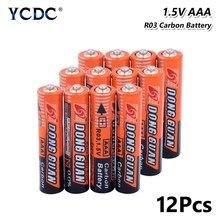 Piles AAA 1.5V carbone-ZINC HR03 UM4 LR03 MN2400 MICRO FR03 pour clavier MP3 de rasoir, 12 pièces