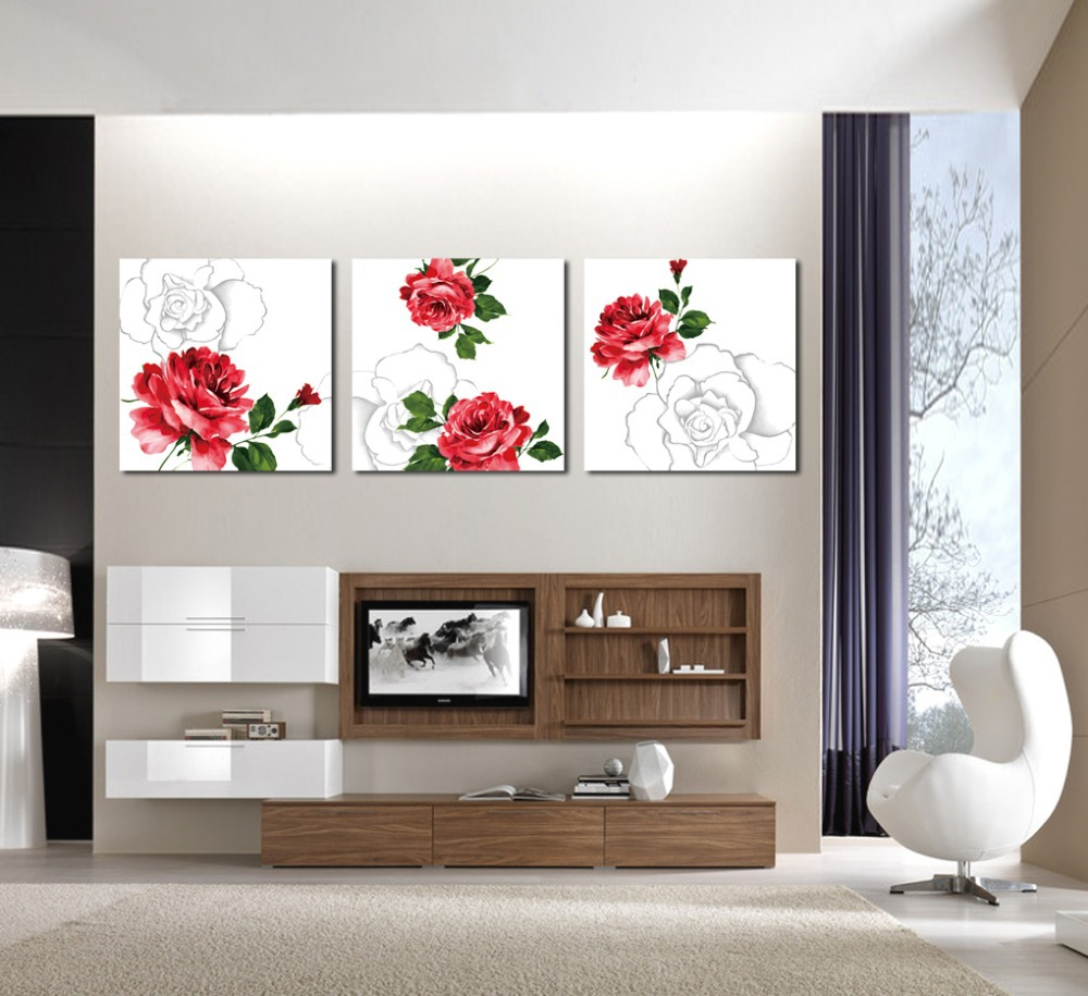 popular office art picturebuy cheap office art picture lots from  - modern art wall peony wall painting fashion home decoration  piece canvaswall art office art