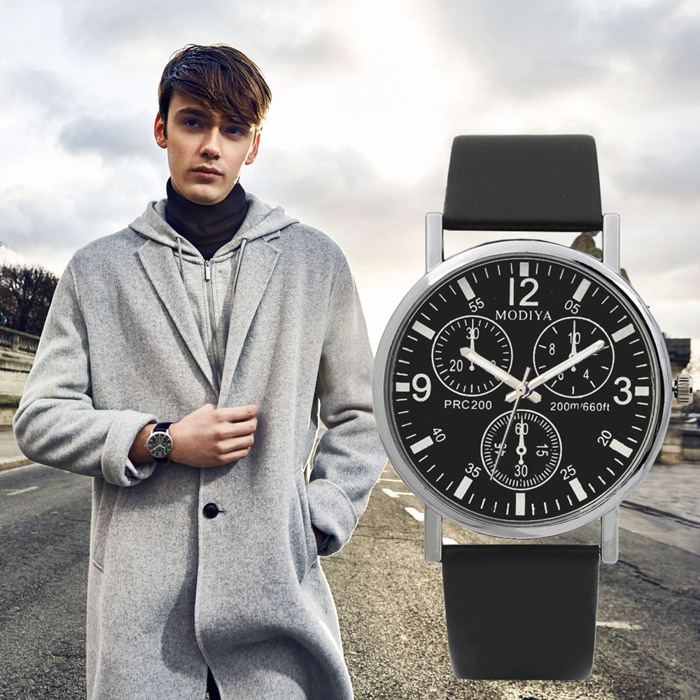 Men Watches Three Eye Quartz Blue Glass Belt zegarek meski heren horloge zwart zilver uhren herren horloges mannen kol saati