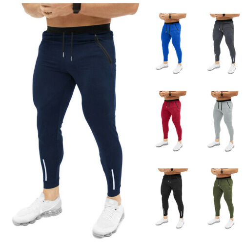 Fashion Men's Solid Lace-up Slim Fit Pants Male Summer Sport Gym Bodybuilding Fitness Skinny Jogging Jogger Sweat Pants M-XXL